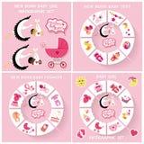 New born baby girl circle infographic set Royalty Free Stock Photos
