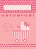 New born baby girl greeting card. New born baby girl pink greeting card Royalty Free Stock Photos
