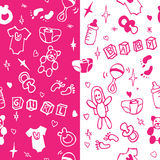 New born baby girl seamless pattern. New born baby girl seamless pink and white pattern Royalty Free Stock Photo