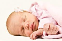 New born baby girl sleeping peacefully Royalty Free Stock Image