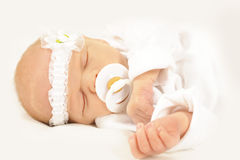 New born baby girl sleeping peacefully Royalty Free Stock Image