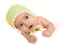 New born baby in a hat Royalty Free Stock Photo