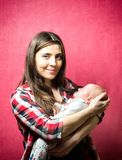 New born baby with his mother royalty free stock image