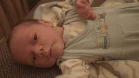 New born baby, child on the bed stock video footage
