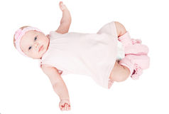 New born baby in pink dress stock image