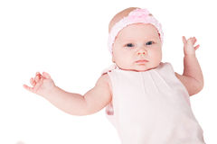 New born baby in pink dress. New born baby, 2 month, in pink dress Royalty Free Stock Photography