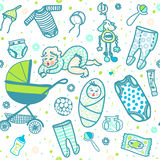 New born baby seamless pattern. New born baby boy seamless pattern in five colors. Sliders and undershirts and bodysuit and bonnet and baby carriage and toy and Stock Images