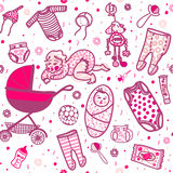 New born baby seamless pattern. New born baby girl seamless pattern in five colors. Sliders and undershirts and bodysuit and bonnet and baby carriage and toy Royalty Free Stock Images