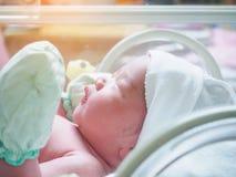 New born baby sleep in the incubator at hospital. New born baby infant sleep in the incubator at hospital Royalty Free Stock Photos