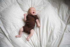 New born baby sleeping in his bed. Stock Photos