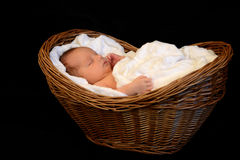 New Born Baby sleeping in a wooden basket Royalty Free Stock Images