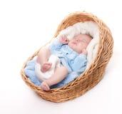 New born baby sleeps in basket