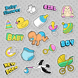 New Born Baby Stickers, Patches, Badges Scrapbook Baby Shower Decoration Set with Stork and Toys. Vector Doodle Royalty Free Stock Photo