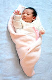 New born baby waving Royalty Free Stock Image