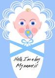 New born boy announcement, baby in blue design. Vector EPS 10 stock illustration