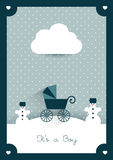New born card. Boy invitation concept. Winter concept Royalty Free Stock Photos