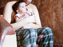 Baby girl with her father. Arabian egyptian newborn baby girl with her father Royalty Free Stock Photography