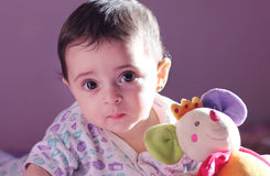 Baby girl. Arabian egyptian newborn baby girl with her toy Royalty Free Stock Photos