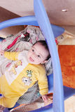 Smiling baby girl. Arabian egyptian newborn baby girl smiling to the cam Royalty Free Stock Photos