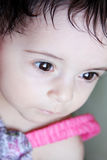 Baby girl. Arabian egyptian newborn girl looking with brown eyes Royalty Free Stock Images
