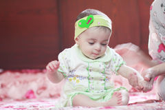 New born girl. Arabian egyptian newborn girl with her mother Royalty Free Stock Image