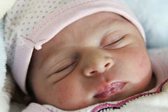 Sleeping baby girl. Arabian egyptian newborn girl sleeping Royalty Free Stock Image