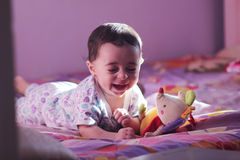 Baby girl laughing Royalty Free Stock Images