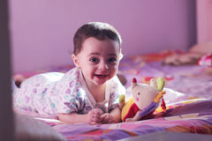 New born girl looking. Arabian egyptian newborn girl looking to the cam Royalty Free Stock Photography