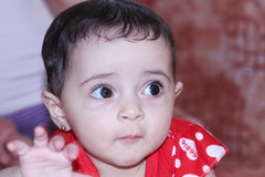 Baby girl. Arabian egyptian newborn girl looking with brown eyes Royalty Free Stock Photography