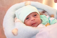 New born girl looking Stock Photography