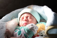 Sleeping newborn baby. Arabian egyptian newborn baby girl sleeping Stock Photography