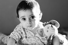 Baby girl. Newborn baby girl looking in black and white Royalty Free Stock Image