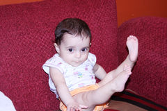 New born girl looking Stock Image