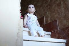 Baby girl. Arabian egyptian newborn baby girl looking side away Royalty Free Stock Image