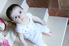 Baby girl. Arabian egyptian newborn baby girl looking to the cam Royalty Free Stock Photos