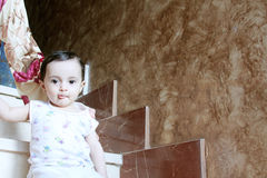 Baby girl. Arabian egyptian newborn baby girl looking to the cam Stock Images