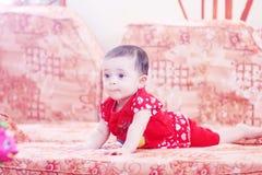 Baby girl. Arabian egyptian newborn baby girl looking to her toy Stock Photography