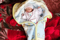 New born girl sleeping Stock Images