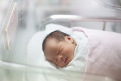 New born infant asleep in the blanket in delivery room Stock Images