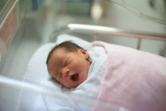 New born infant asleep in the blanket in delivery room Royalty Free Stock Images