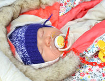 New born infant child baby girl sleeping Royalty Free Stock Photos