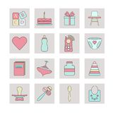 New born web icon set. royalty free illustration