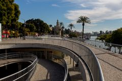 New boulevard of the river Guadalquivir in Seville stock image