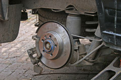 New brake disc. After replacement on van Royalty Free Stock Photo