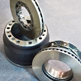 Brake discs and drum for truck. New brake discs and drum for truck royalty free stock photo
