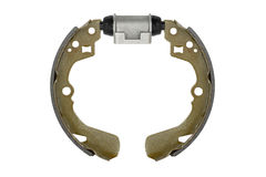 New brake pads and cylinder brake drum (isolated) Royalty Free Stock Photo