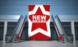 New brand advertising flag and escalator Royalty Free Stock Image