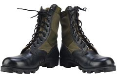 New brand US army pattern jungle boots isolated stock photography