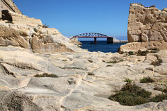 The New Breakwater Bridge. The new bridge on the breakwater, Grand harbour, Malta was installed in 2011 after the original was destroyed in World War II Stock Photo