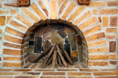 New brick fireplace Royalty Free Stock Images